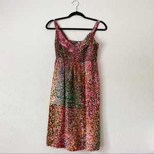 Maeve Anthro Silk Circular Watercolor Print Dress